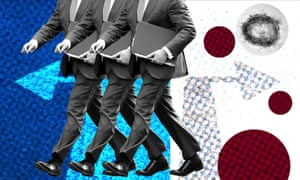 Graphic: suits, arrows and blobs