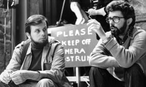 Gary Kurtz, left, with George Lucas in 1977. They parted company prior to the making of what was the third Star Wars film in the trilogy, Return of the Jedi, 1983.