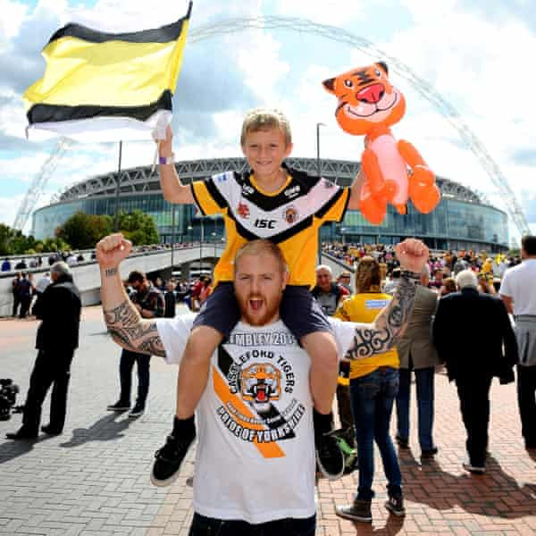 Castleford fans outside Wembley before the 2014 Challenge Cup Final, which the Tigers lost to Leeds.