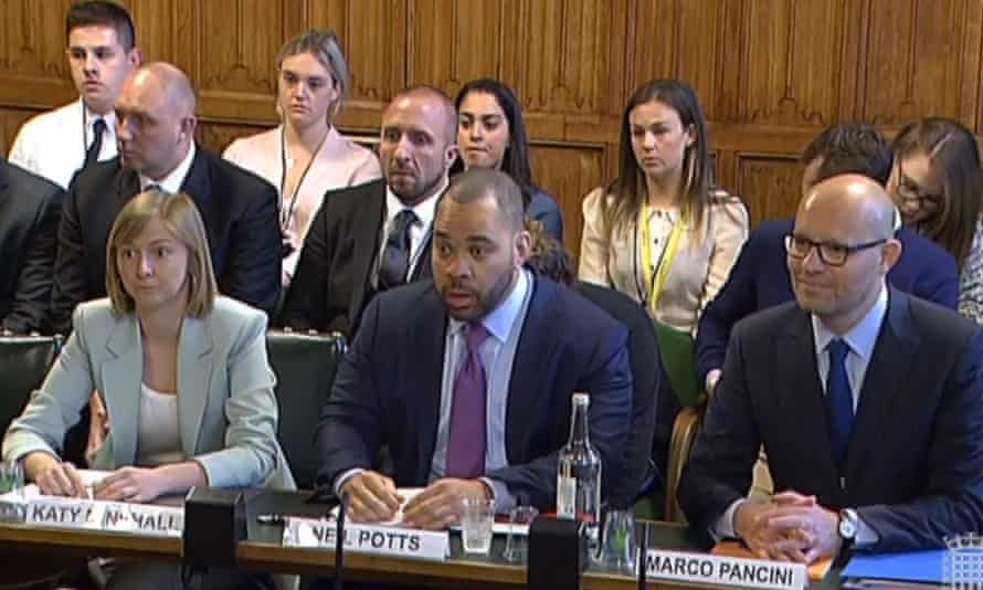 Twitter's Katy Minshall, Facebook's Neil Potts and YouTube's Marco Pancini give evidence to the home affairs select committee
