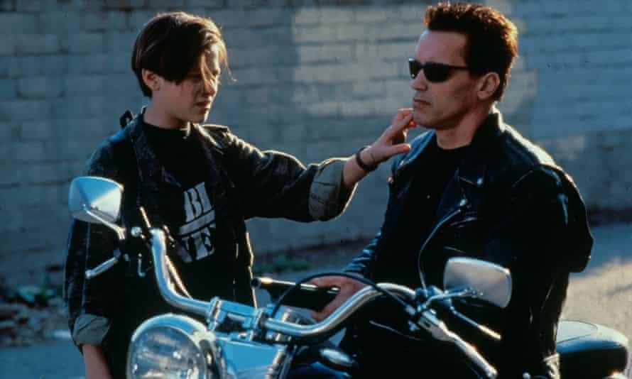 Groundbreaking ... Edward Furlong and Arnold Schwarzenegger in Terminator 2: Judgment Day.