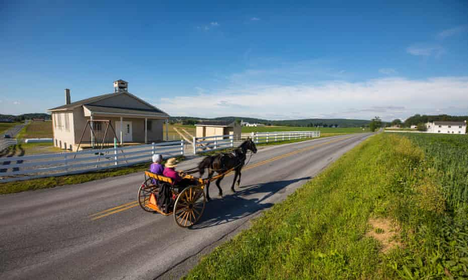 Amish buggy, town of Intercourse, Lancaster County, Pennsylvania, US.