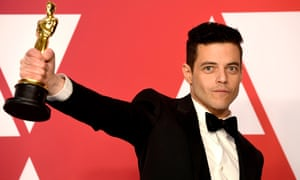 Rami Malek with his Oscar for best actor, won for his performance in Bohemian Rhapsody.