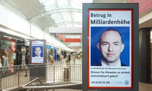 The search for fugitive manager Jan Marsalek on a poster in a mallin Hamburg, Germany.