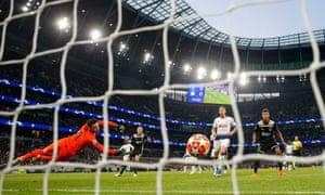 Ajax's Donny van de Beek slots the ball home.