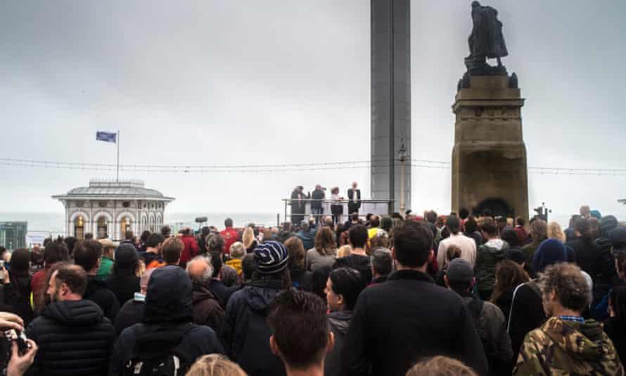 Jeremy Corbyn addresses a rally in Brighton.