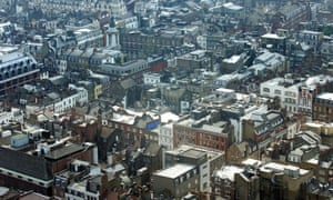 Soho in London, where access to takeaways and pubs are combined with low levels of green spaces.