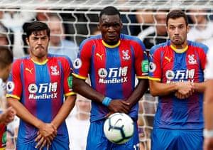 Crystal Palace's James Tomkins, Christian Benteke and Luka Milivojevic during a free-kick.