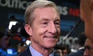 Tom Steyer speaking to the press in the spin room after the sixth Democratic primary debate in December.