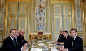 Leo Varadkar (left) with Emmanuel Macron (right) at the Elysee Palace in Paris
