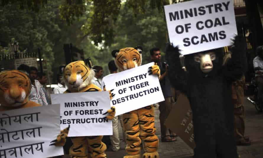 Greenpeace activists protesting in Delhi in 2012.