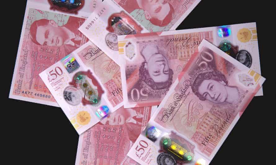 a range of £ 50 banknotes