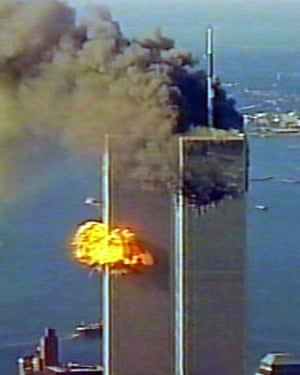 A second hijacked jet slams into in the south tower.