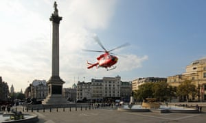 London air ambulance helicopter in Trafalgar Square