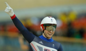 Jason Kenny celebrates after beating Callum Skinner to win the men's sprint title.