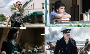 Sam Rockwell in Three Billboards, Timothee Chalamet in Call Me by Your Name, Kenneth Branagh in Dunkirk and Sally Hawkins in The Shape of Water.