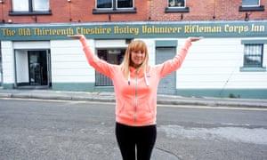 Sarah Farrer-Baxter outside the Old Thirteenth Cheshire Astley Volunteer Rifleman Corps Inn