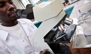 A laboratory technician at a health centre in Amuria district, Uganda