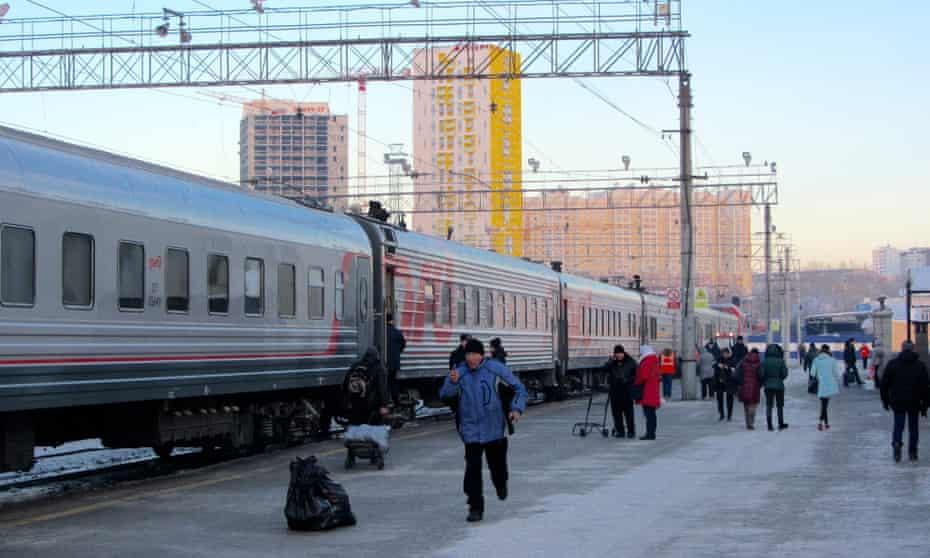 The Yekaterinburg train reaches its destination.