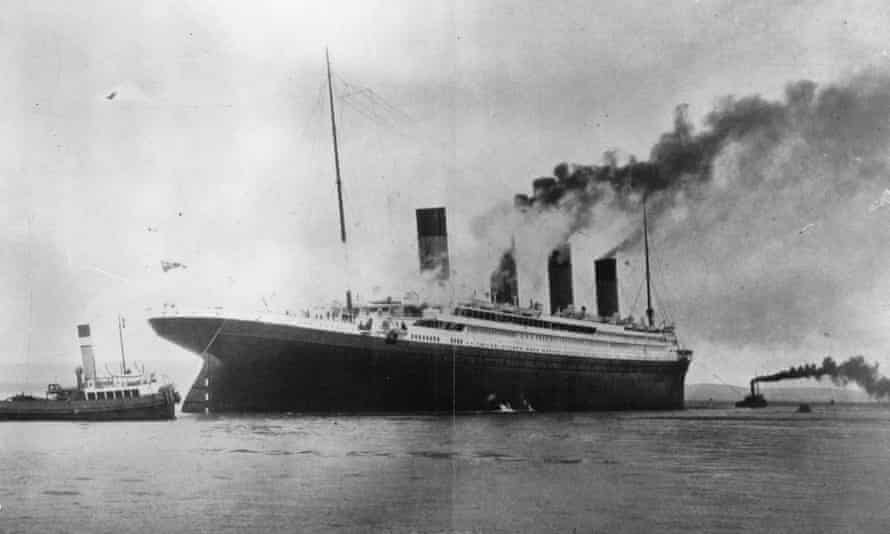 The Titanic during trials in Belfast Lough before its maiden voyage.