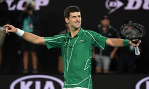 Novak Djokovic celebrates after beating Austria's Dominic Thiem.