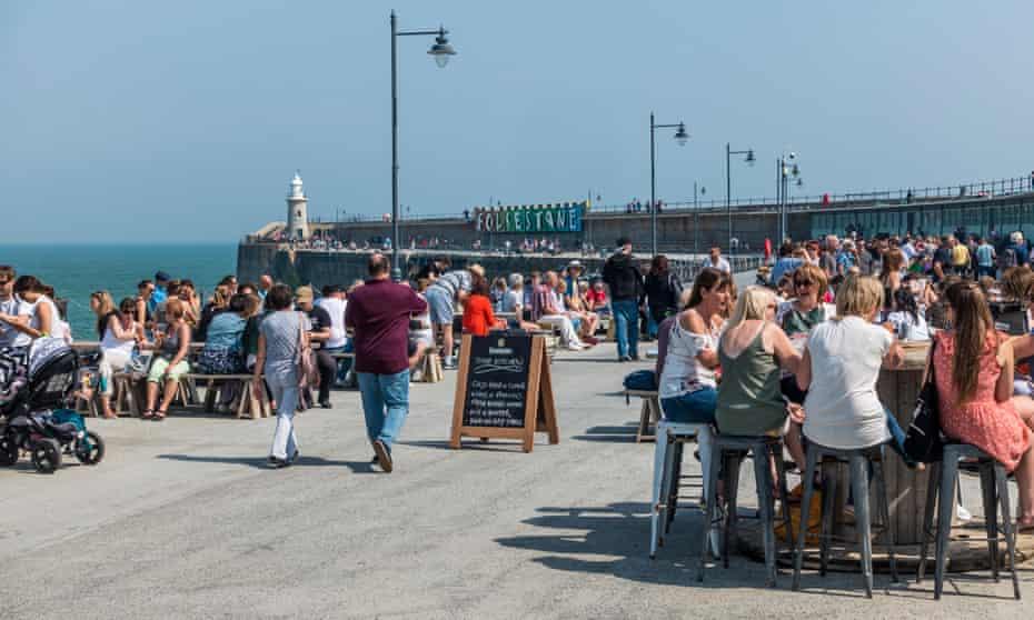Bank Holiday, crowds, Folkestone Harbour, Kent, UK.
