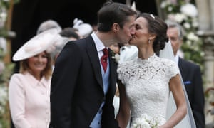 Middleton and Matthews kiss after their wedding.