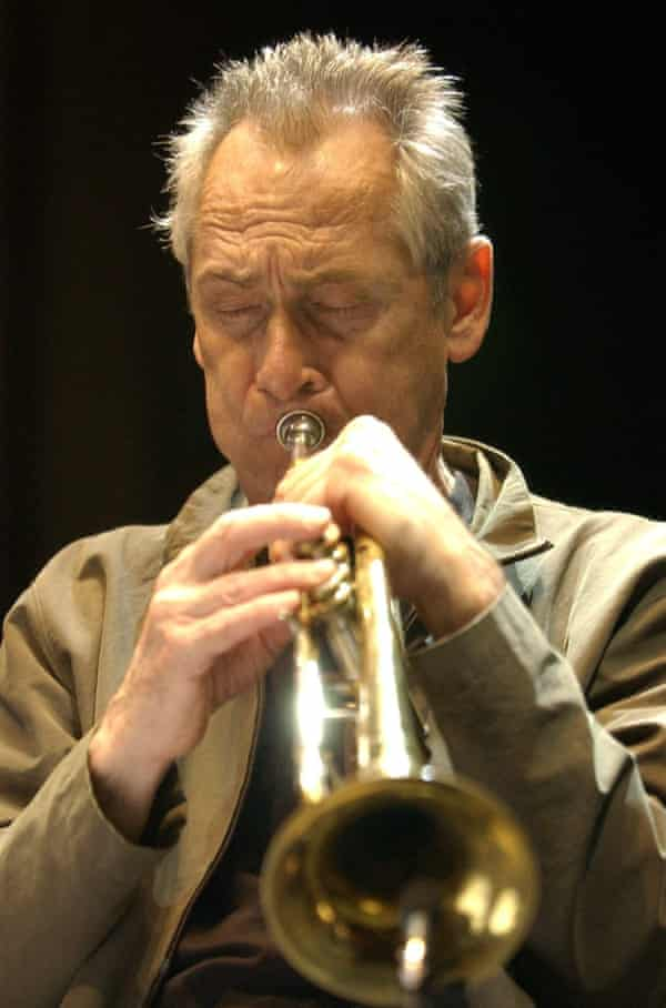 Jon Hassell playing the trumpet
