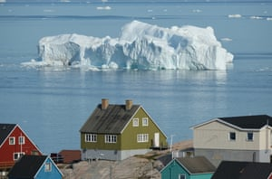 An iceberg floats in Disko Bay in Ilulissat, Greenland