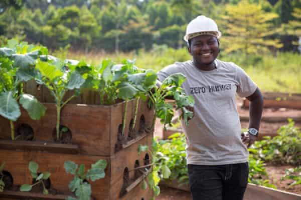 Paul Matovu with his Vertical Farm