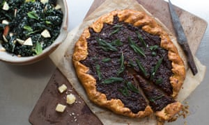 Caramelised onion galette with fried sage