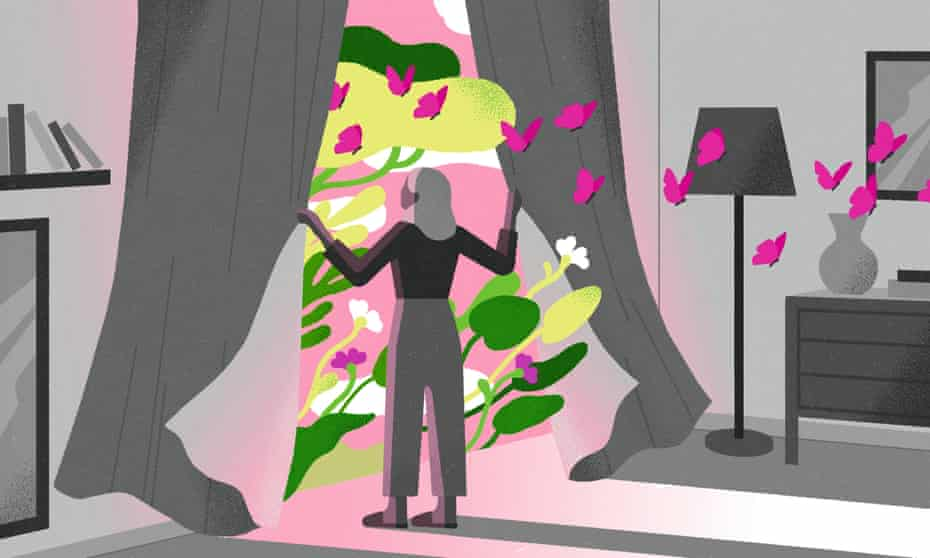 Illustration of a woman in a grey room opening the curtains and colourful plants and butterflies flowing in