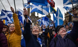 Supporters of Scottish independence at a rally in George Square, Glasgow, March 2019.