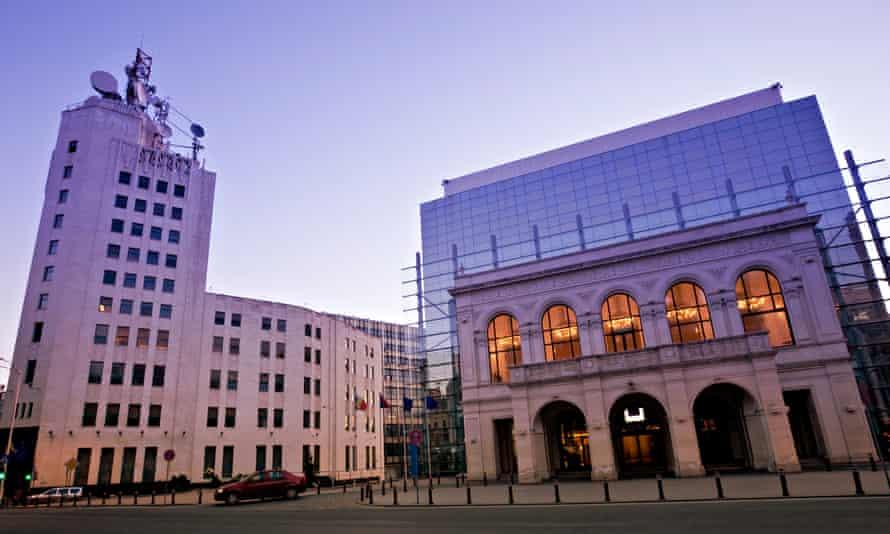 The Telephone Palace, on the left, on Calea Victoriei, Bucharest, Romania.