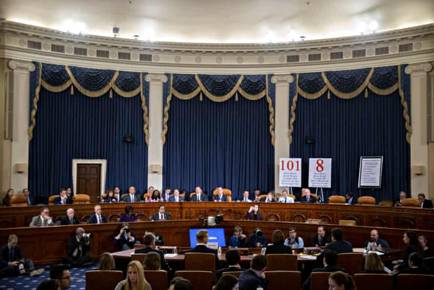 Fiona Hill, former National Security Council Russia expert, center right, and David Holmes, counselor for political affairs at the US Embassy in Ukraine, center left, testify during impeachment hearings on Thursday.