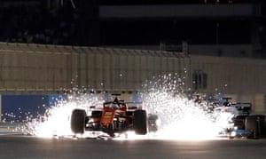 Vettel with a damaged car.