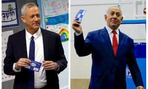 Benny Gantz (left), leader of the Blue and White party voting at a polling station, and Israel's prime minister Benjamin Netanyahu also voting during Israel's election.