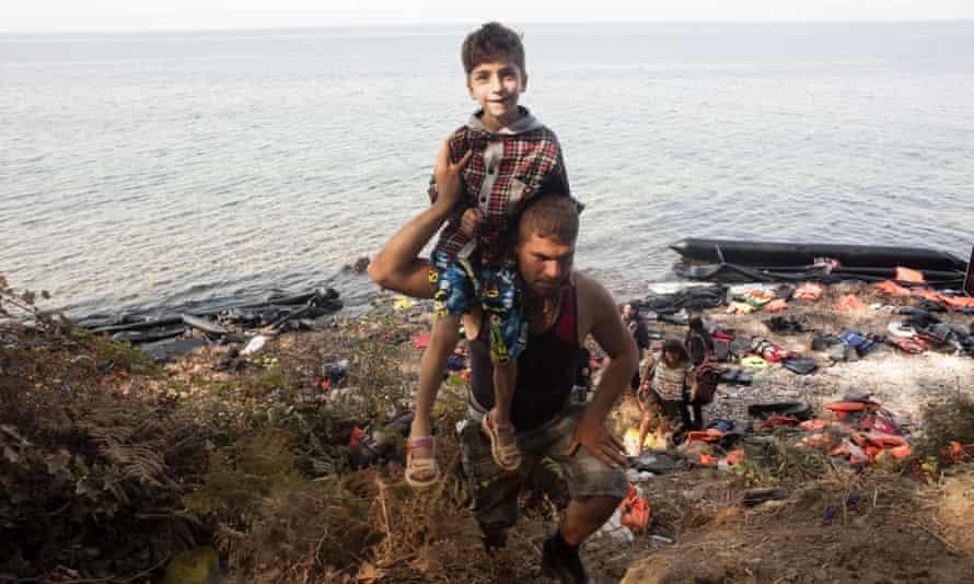 Refugees arriving on Lesbos, Greece, last month.