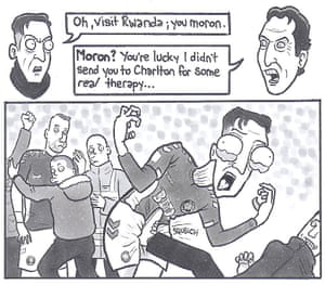 Emery and ÖzilMesut Özil is one of my favourite people to draw; he's a complex character, blessed with an unconventionally handsome face that is a cartoonist's dream. If you look closely at the panel where he's being kicked in the groin, you can see his testicles in the back of his throat. These cartoons are nothing if not really mature. Published: 22 January 2019