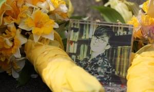 Flowers left where 29-year-old journalist Lyra McKee was shot.