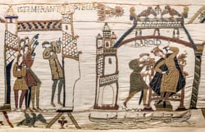 A detail of the Bayeux tapestry showing the comet of Halley and Harold in Westminster.