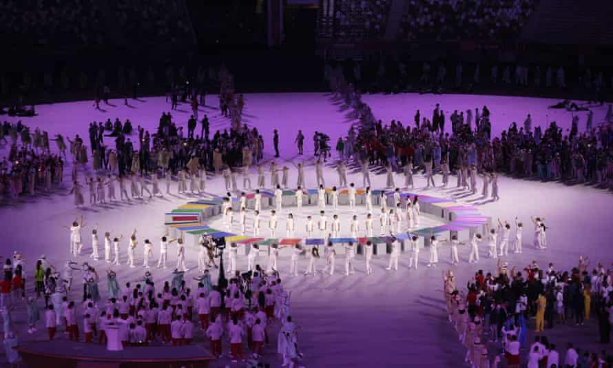 Full of precision … the Tokyo opening ceremony.