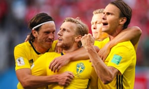 Sweden's Emil Forsberg celebrates after opening the scoring