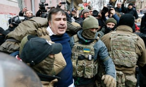 Mikheil Saakashvili being detained in Kiev earlier this week. He was later freed by supporters.