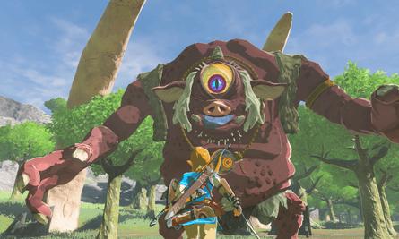 Zelda fighting a one eyed beast