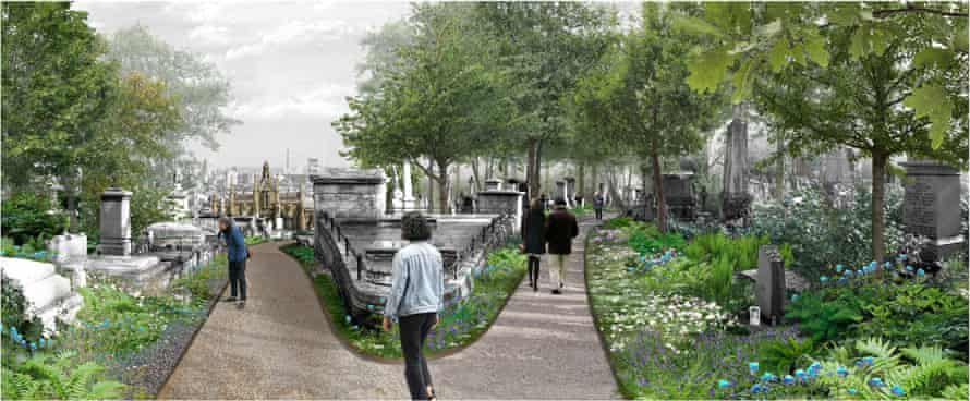 How some of Highgate cemetery's historic vistas might look under the redevelopment.
