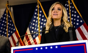 McEnany speaks during a press conference at the Republican National Committee headquarters.
