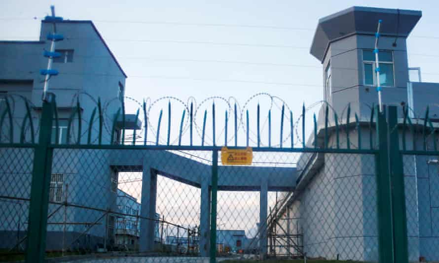 A perimeter fence is constructed around what is officially known as a vocational skills education centre in Dabancheng in Xinjiang.