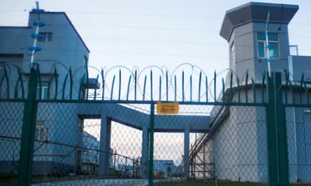 A perimeter fence is constructed around detention centre in Xinjiang province, where up to a million Uighurs are believed to be interned.