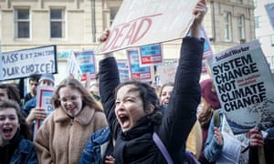 Climate Change Protest in Sheffield in March. Young people striking from school in the UK have pushed public concern over climate to record levels.